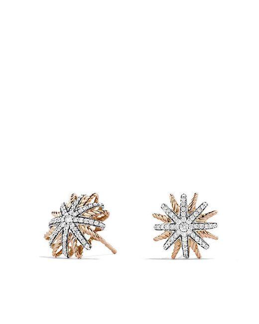 David Yurman | Pink Starburst Earrings With Diamonds In 18k Rose Gold, 14mm | Lyst