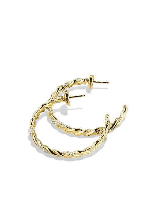 David Yurman | Metallic Wisteria Hoop Earrings With Diamonds In 18k Gold | Lyst