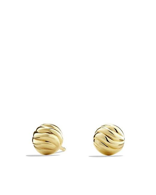 David Yurman | Metallic Sculpted Cable Stud Earring In 18k Gold | Lyst