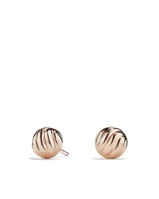 David Yurman | Metallic Sculpted Cable Stud Earring In 18k Rose Gold | Lyst