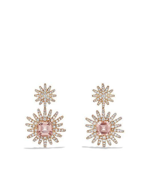 David Yurman | Pink Starburst Drop Earring With Morganite And Diamonds In 18k Rose Gold | Lyst