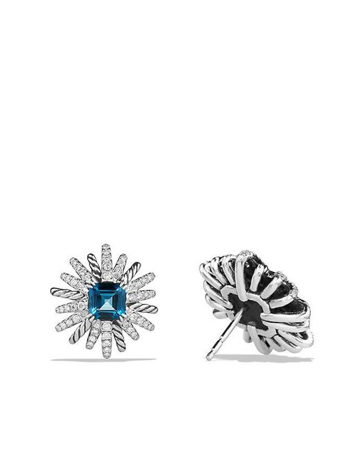 David Yurman | Starburst Earrings With Hampton Blue Topaz And Diamonds, 19mm | Lyst