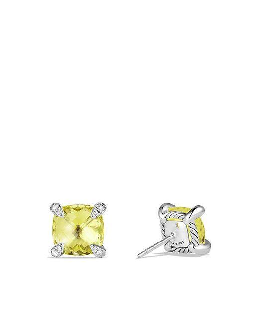 David Yurman | Yellow Châtelaine® Earrings With Lemon Citrine And Diamonds, 9mm | Lyst