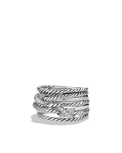David Yurman | Metallic Double X Crossover Ring With Diamonds | Lyst