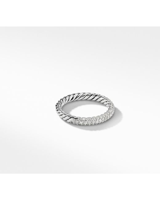 David Yurman - Metallic Petite Pavé Ring With Diamonds - Lyst