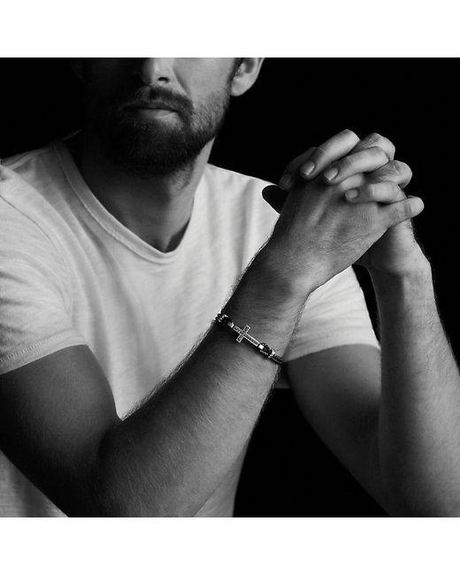 David Yurman - Black Pavé Cross Bracelet With Gray Sapphire for Men - Lyst