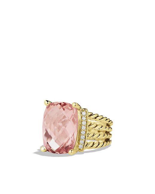 David Yurman - Yellow Wheaton Ring With Morganite And Diamonds In 18k Gold - Lyst