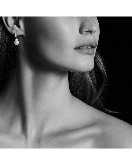 David Yurman | White Solari Hoop Earrings With Diamonds And Pearls In 18k Gold | Lyst