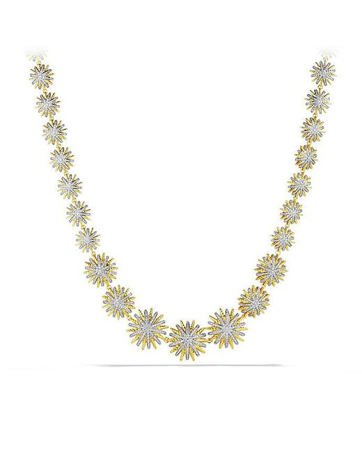 David Yurman | Metallic Starburst Linked Necklace With Diamonds In 18k Gold | Lyst