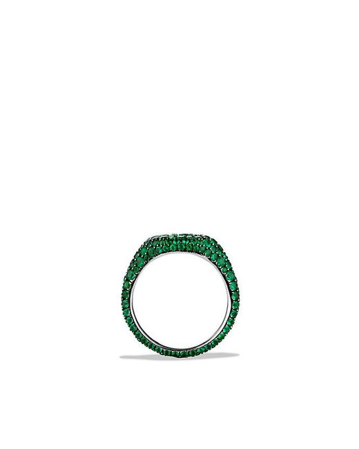 David Yurman - Green Petite Pavé Pinky Ring With Emeralds In 18k White Gold - Lyst