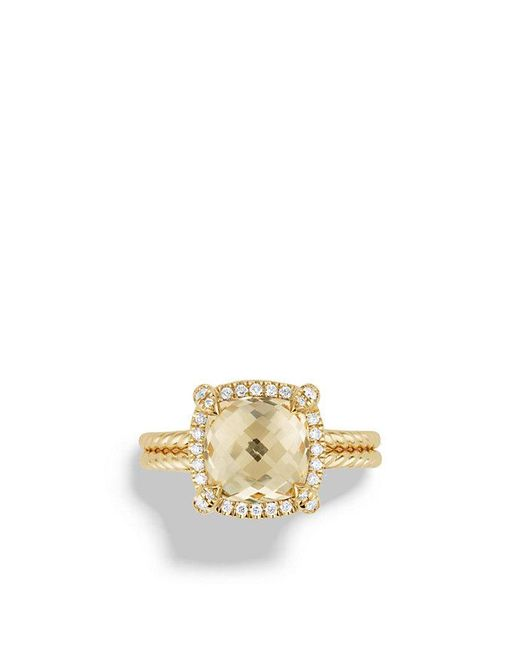 David Yurman - Metallic Châtelaine Pavé Bezel Ring With Champagne Citrine And Diamonds In 18k Gold - Lyst