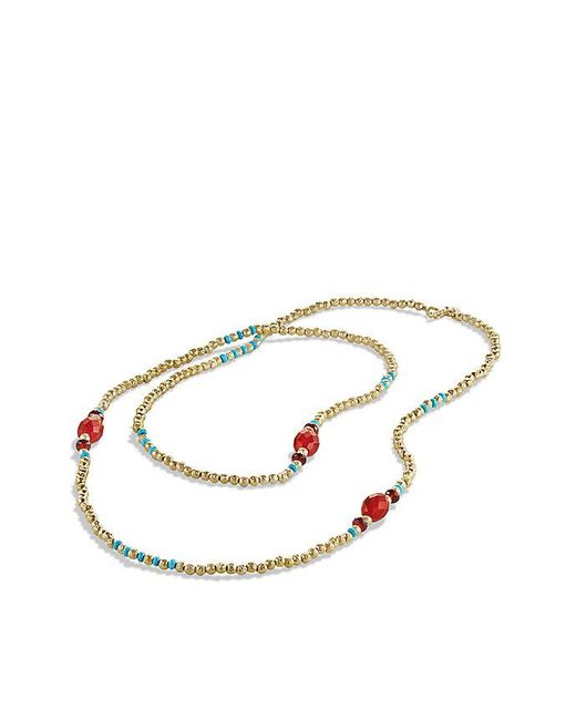 David Yurman - Metallic Dy Signature Bead Necklace With Turquoise And Carnelian In 18k Gold - Lyst
