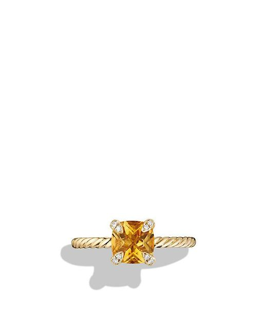 David Yurman - Metallic Chatelaine Ring With Citrine And Diamonds In 18k Gold, 7mm - Lyst