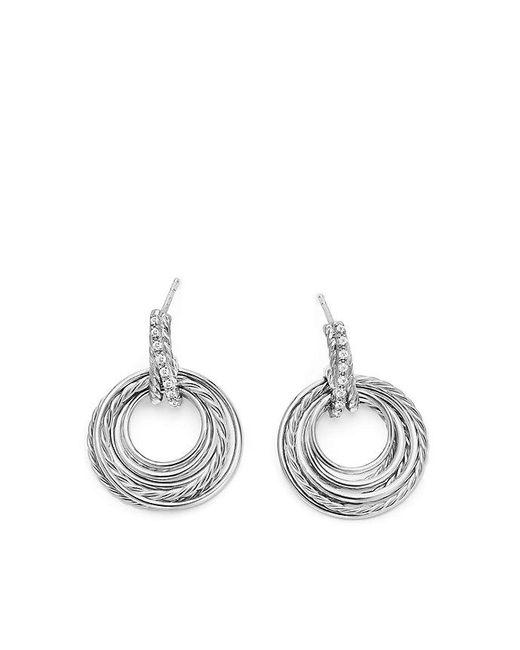David Yurman | Metallic Crossover Drop Earrings With Diamonds, 30mm | Lyst