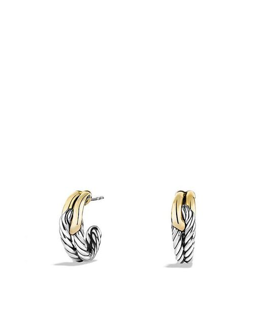 David Yurman | Metallic Labyrinth Single-loop Earrings With 18k Gold | Lyst