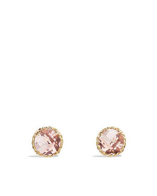 David Yurman - Metallic Châtelaine® Earrings With Morganite In 18k Gold - Lyst