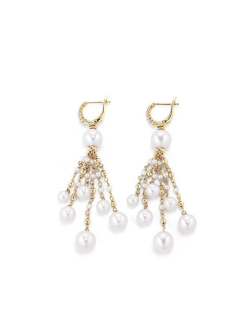David Yurman | Metallic Oceanica Tassel Earrings With Pearls And Diamonds In 18k Gold | Lyst