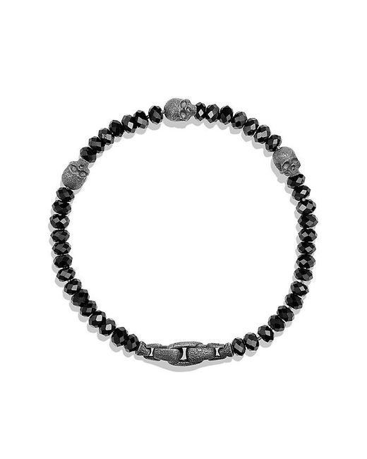 David Yurman - Spiritual Beads Skull Station Bracelet In Black Spinel for Men - Lyst