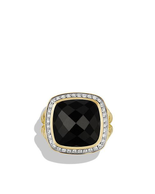 David Yurman | Albion® Ring With Black Onyx And Diamonds In 18k Gold, 14mm | Lyst