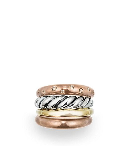 David Yurman | Metallic Pure Form® Mixed Metal Four-row Ring With Diamonds, Bronze And Silver, 17.5mm | Lyst