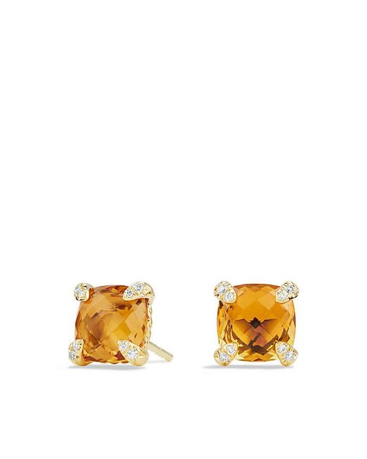 David Yurman | Orange Châtelaine® Earrings With Citrine In 18k Gold, 8mm | Lyst
