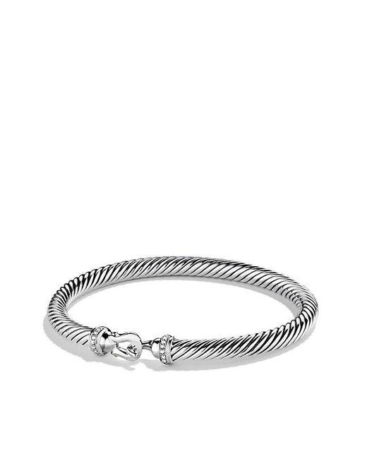 David Yurman | Metallic Cable Buckle Bracelet With Diamonds, 5mm | Lyst