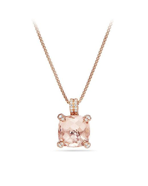David Yurman | Metallic Chatelaine® Pendant Necklace With Diamonds In 18k Rose Gold, 11mm | Lyst
