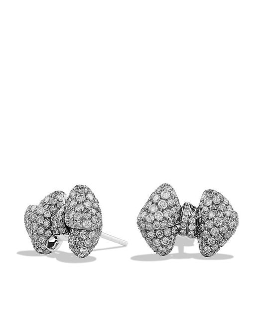 David Yurman | Dy Signature Bow Earrings With Gray Diamonds In 18k White Gold | Lyst