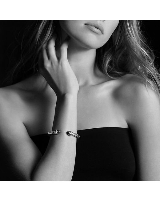 David Yurman | Metallic Cable Classic Crossover Bracelet With Pearls And Diamonds In 18k Gold, 7mm | Lyst