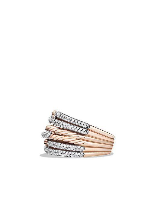 David Yurman | Metallic Labyrinth Triple-loop Ring With Diamonds In 18k Rose Gold | Lyst