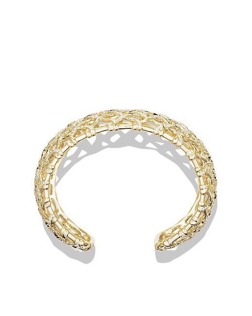 David Yurman | Metallic Venetian Quatrefoil Wide Cuff Bracelet With Diamonds In Gold | Lyst