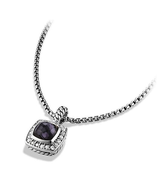 David Yurman | Metallic Petite Albion Pendant Necklace With Black Orchid And Diamonds | Lyst