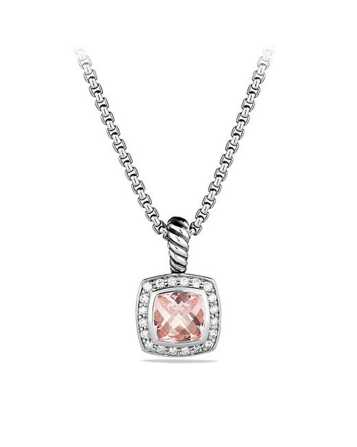 David Yurman   Metallic Petite Albion Pendant Necklace With Morganite And Diamonds   Lyst