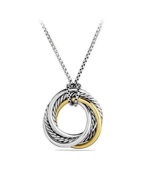 David Yurman | Metallic Crossover Small Pendant Necklace With 14k Gold | Lyst