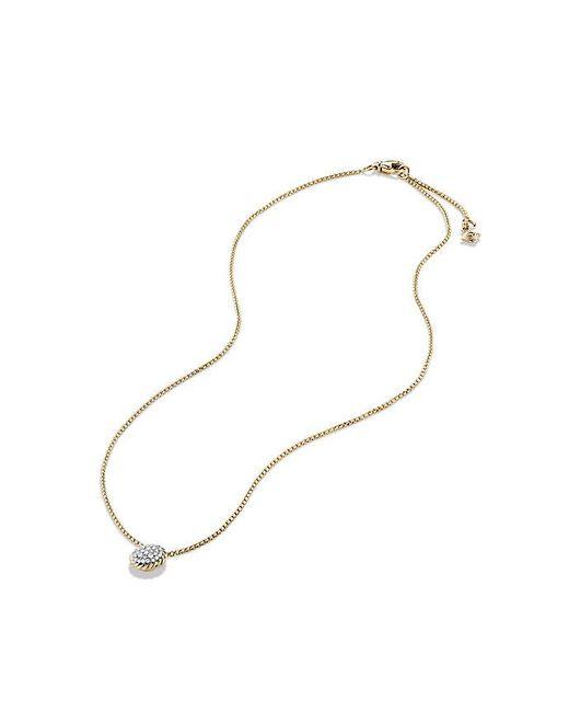 David Yurman | Metallic Petite Pavé Pendant Necklace With Diamonds In 18k Gold | Lyst