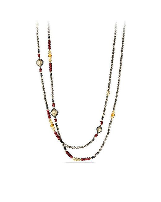 David Yurman | Multicolor Bijoux Bead Necklace With Pyrite, Garnet And Citrine In 18k Gold | Lyst