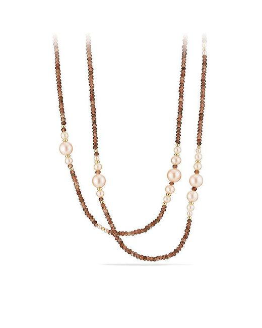 David Yurman | Oceanica Tweejoux Necklace With Pink Pearls And Andalusite In 18k Gold | Lyst