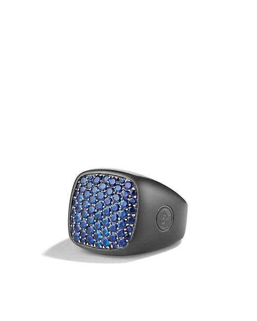 David Yurman | Pavé Signet Ring With Blue Sapphires And Black Titanium for Men | Lyst