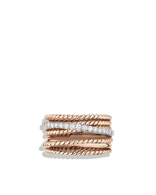 David Yurman | Metallic Crossover Wide Ring With Diamonds In 18k Rose Gold | Lyst