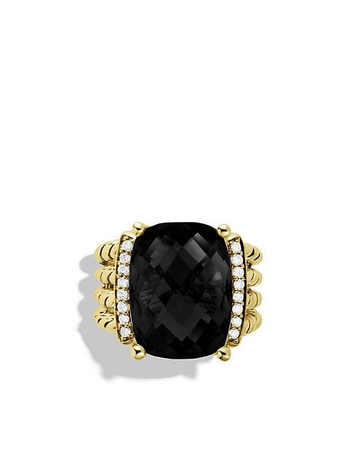 David Yurman | Wheaton Ring With Black Onyx And Diamonds In 18k Gold | Lyst