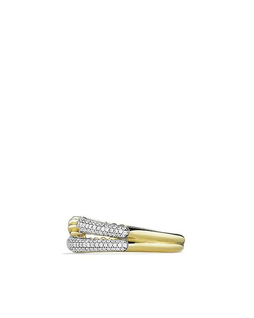 David Yurman | Metallic Labyrinth Single-loop Ring With Diamonds In 18k Gold | Lyst