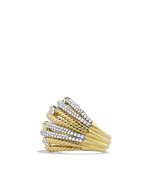 David Yurman | Metallic Labyrinth Dome Ring With Diamonds In 18k Gold | Lyst