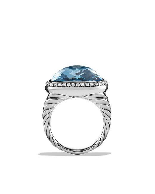 David Yurman | Albion® Ring With Blue Topaz And Diamonds, 17mm | Lyst