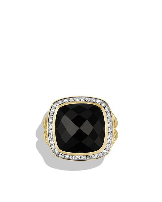 David Yurman | Albion Ring With Black Onyx And Diamonds In 18k Gold, 14mm | Lyst