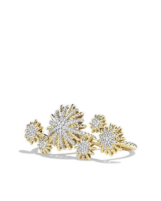 David Yurman | Metallic Starburst Double Ring With Diamonds In 18k Gold | Lyst