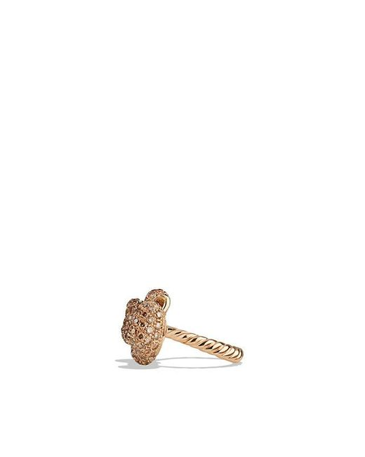David Yurman | Pink Mini Bow Ring With Diamonds In 18k Rose Gold | Lyst