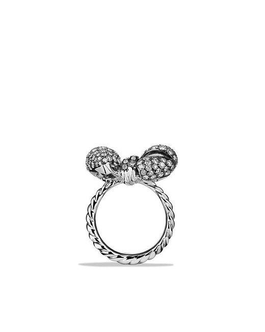 David Yurman | Metallic Dy Signature Mini Bow Ring With Gray Diamonds In 18k White Gold | Lyst