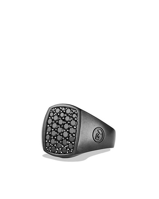 David Yurman | Pavé Pinky Ring With Black Diamonds And Black Titanium for Men | Lyst