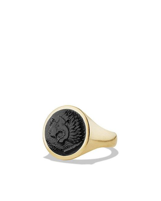 David Yurman | Petrvs Lion Signet Ring With Black Onyx In 18k Gold for Men | Lyst