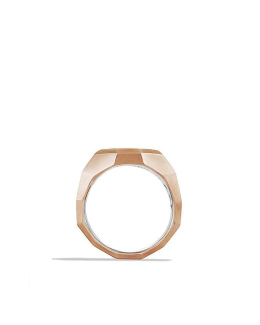 David Yurman | Pink Faceted Metal Signet Ring With 18k Rose Gold for Men | Lyst